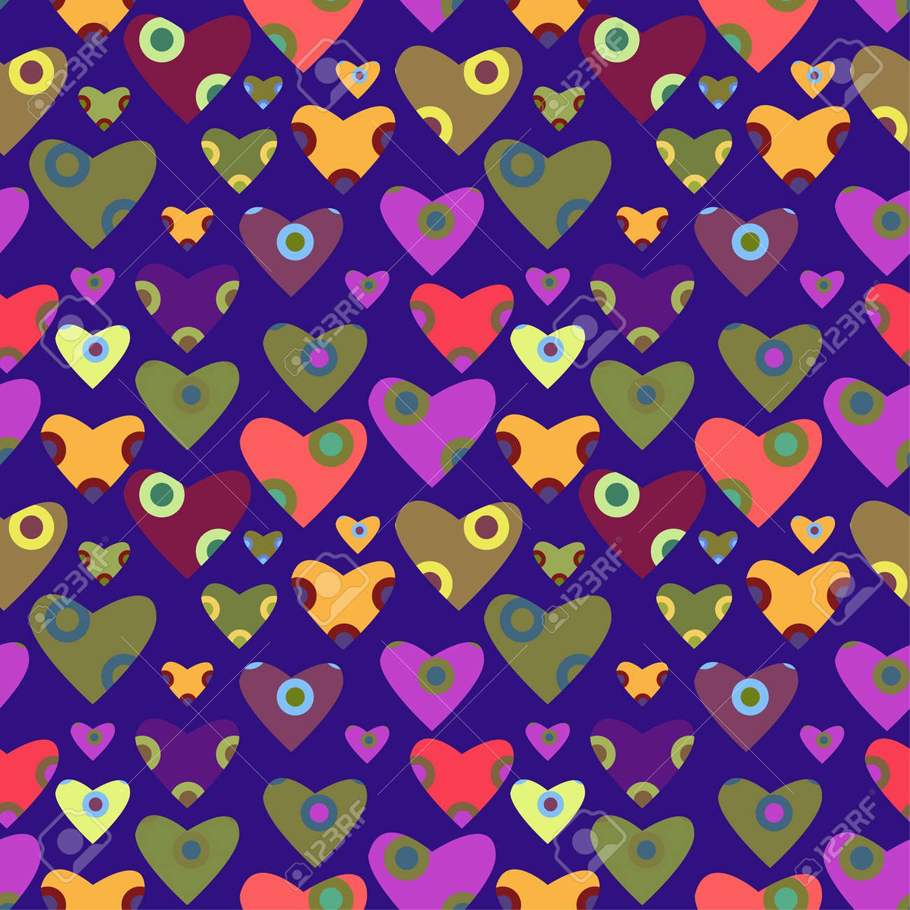 decorative seamless pattern with hearts Stock Vector - 15350369