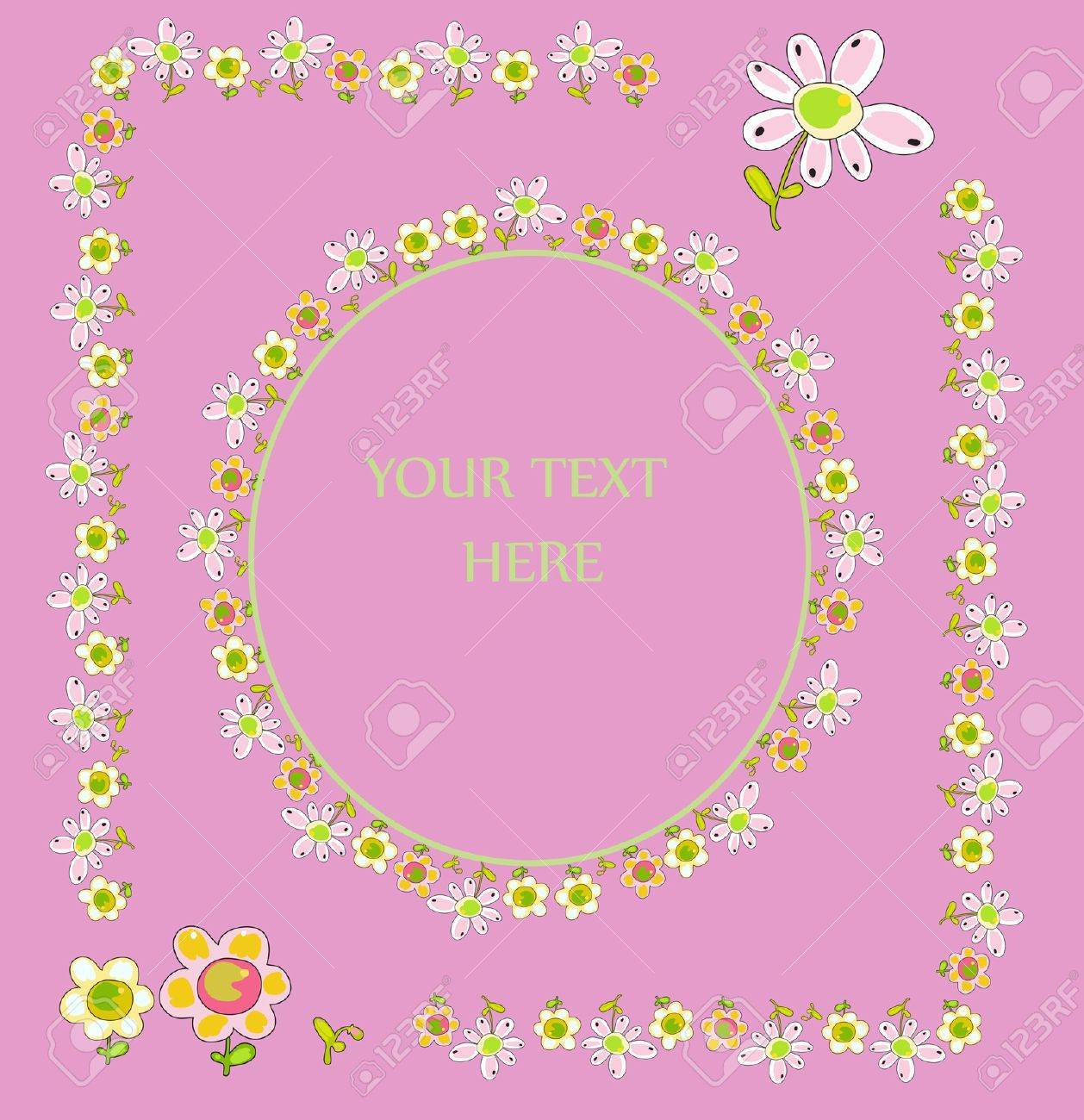 Set Of Floral Frames For Greeting Cards Royalty Free Cliparts