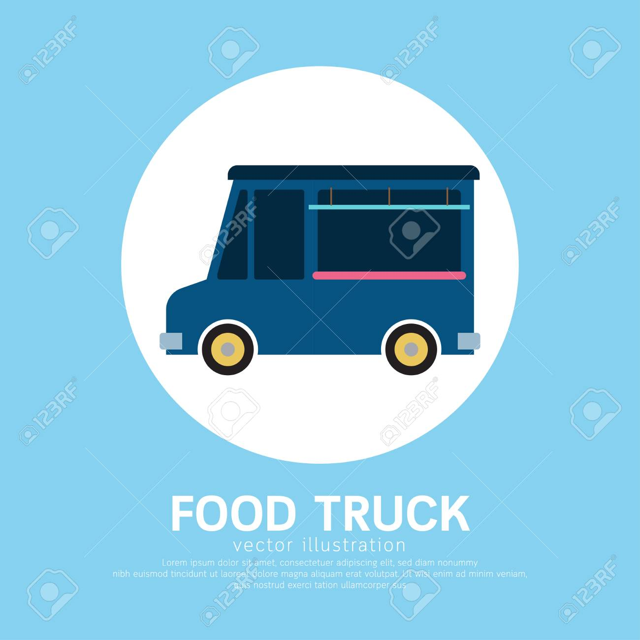cute cartoon food truck template design royalty free cliparts