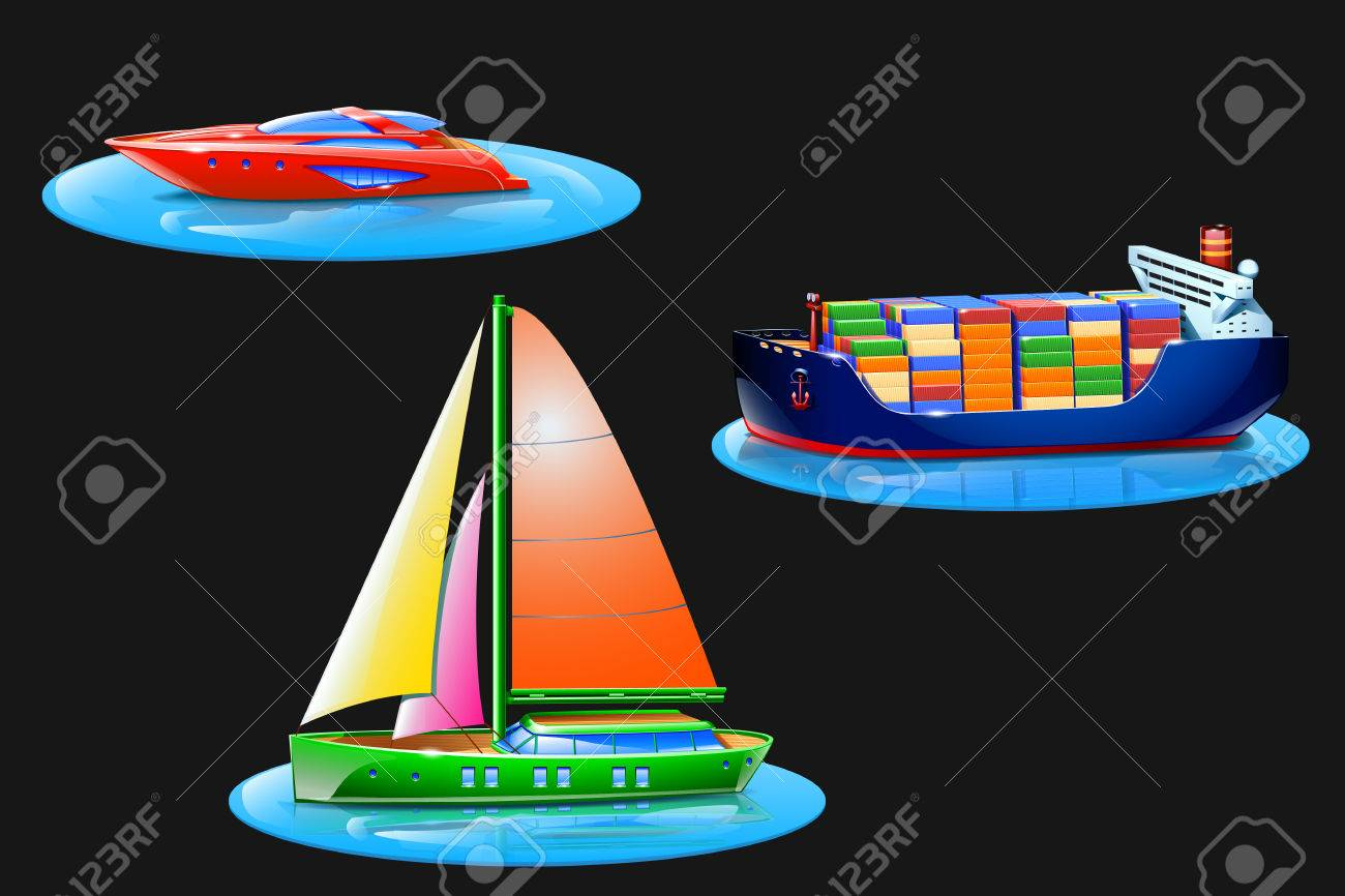 illustration of set of different types of boats royalty free