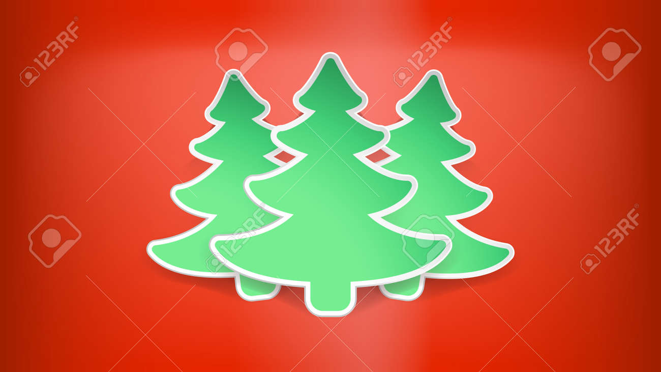 Illustration Of Few Green Christmas Trees On Red Color Background ...