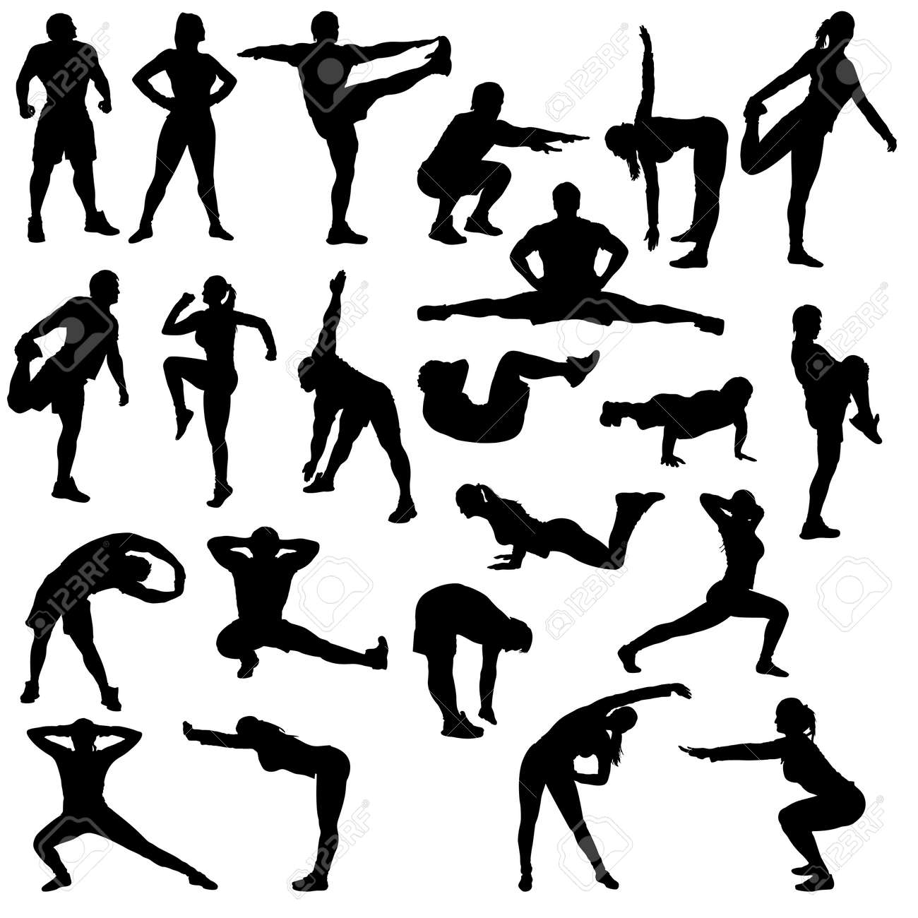 big set for gym. there are a lot of different poses man and woman - 51895543