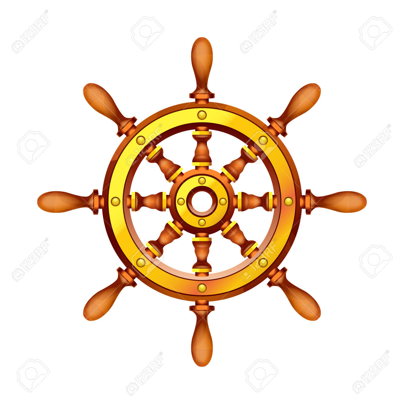 Illustration Of Wooden Boat Steering Wheel On White Background Royalty Free Cliparts Vetores E Ilustracoes Stock Image 53664092