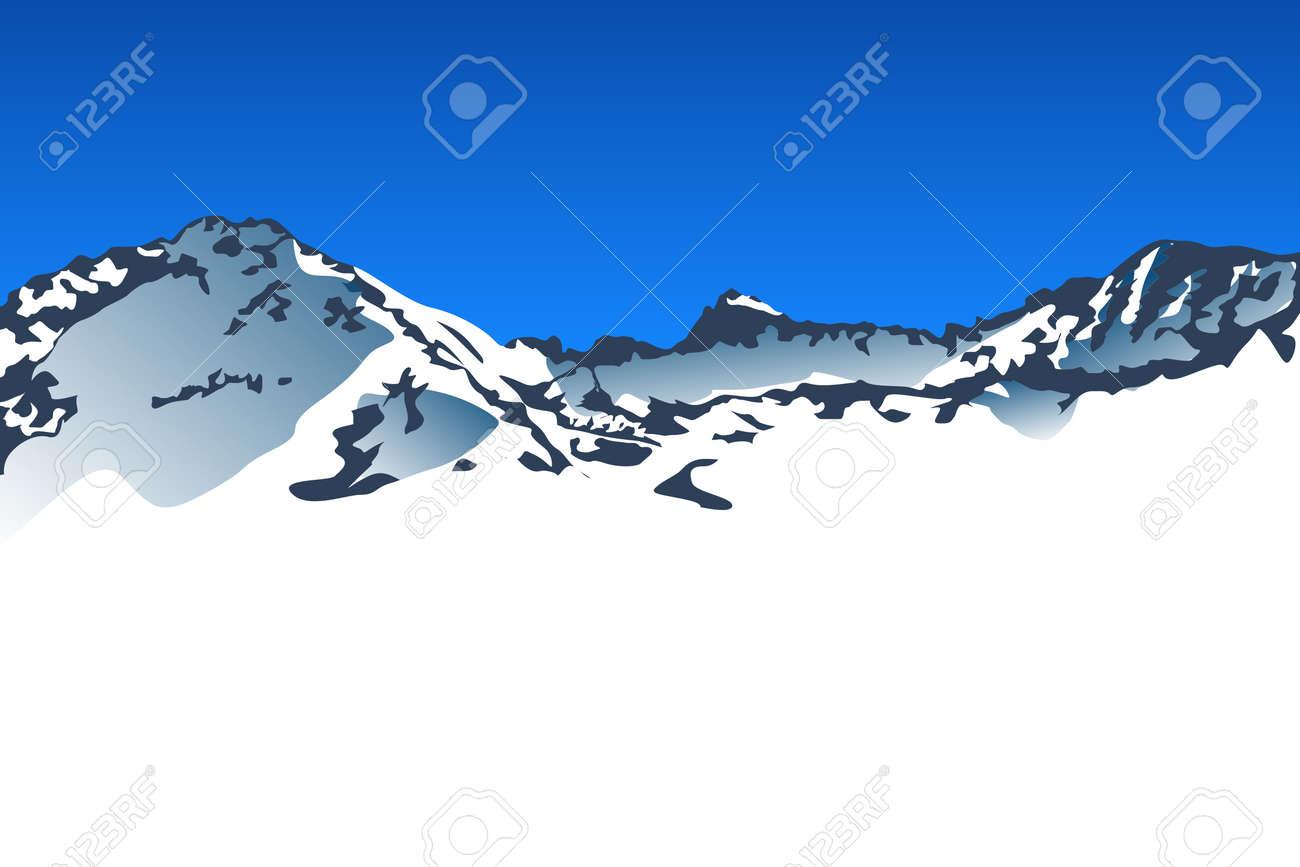 大雪山と青い空のイラストのイラスト素材ベクタ Image 58182823