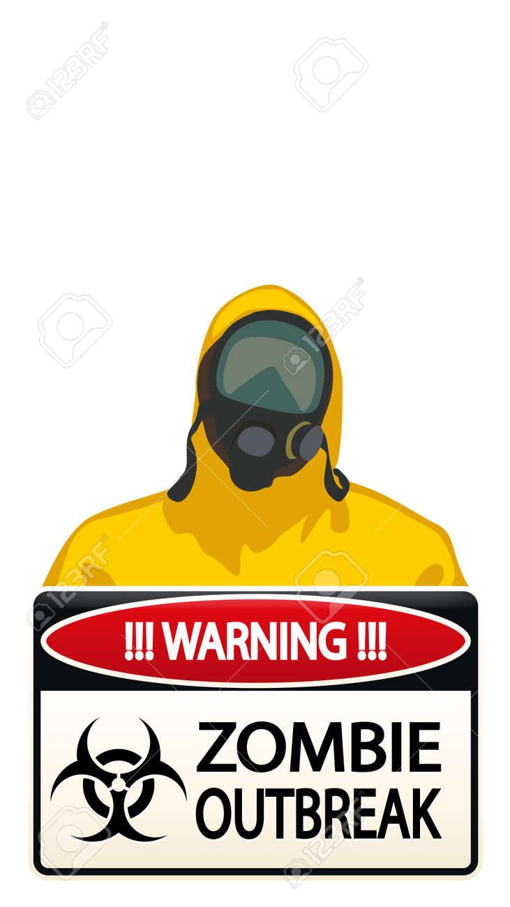 ゾンビと黄色のバイオハザード保護背広の男のイラストが白い背景の上署名