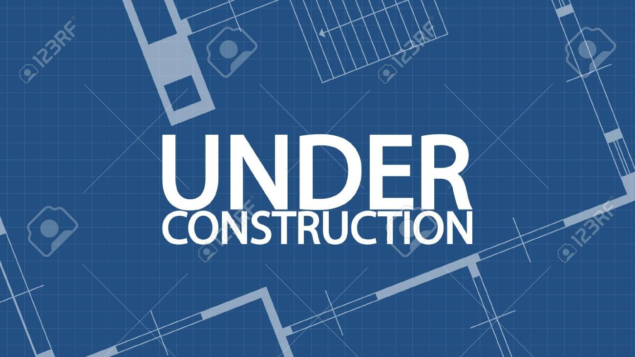 Illustration of blueprint under construction word and house on illustration of blueprint under construction word and house on blue backgound stock vector 61793965 malvernweather Gallery