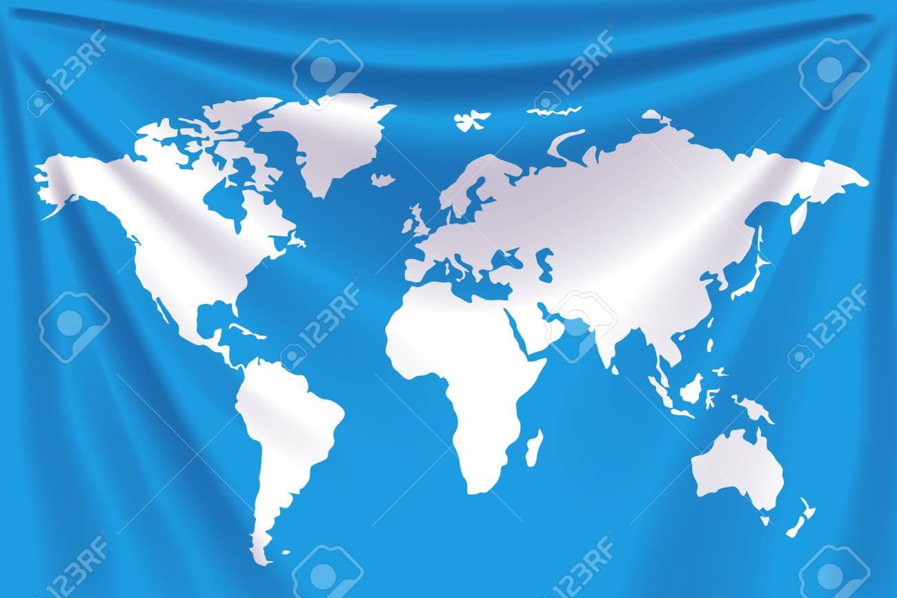 Carte Du Monde Realiste.Illustration Du Drapeau Realiste Bleu Avec La Carte Du Monde A Ce Sujet