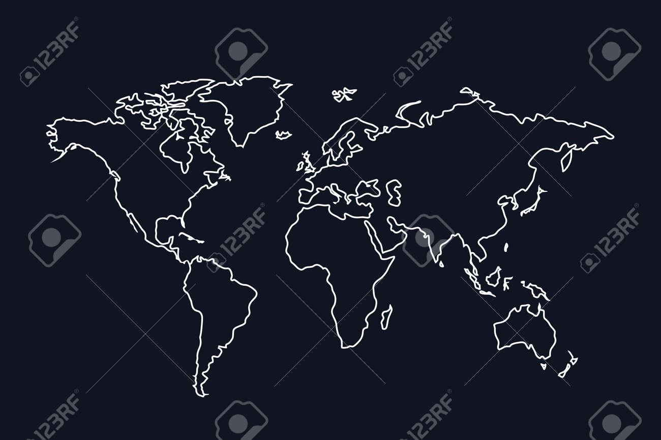 Illustration of stroke world map white color on dark background illustration of stroke world map white color on dark background stock vector 68806892 gumiabroncs Choice Image