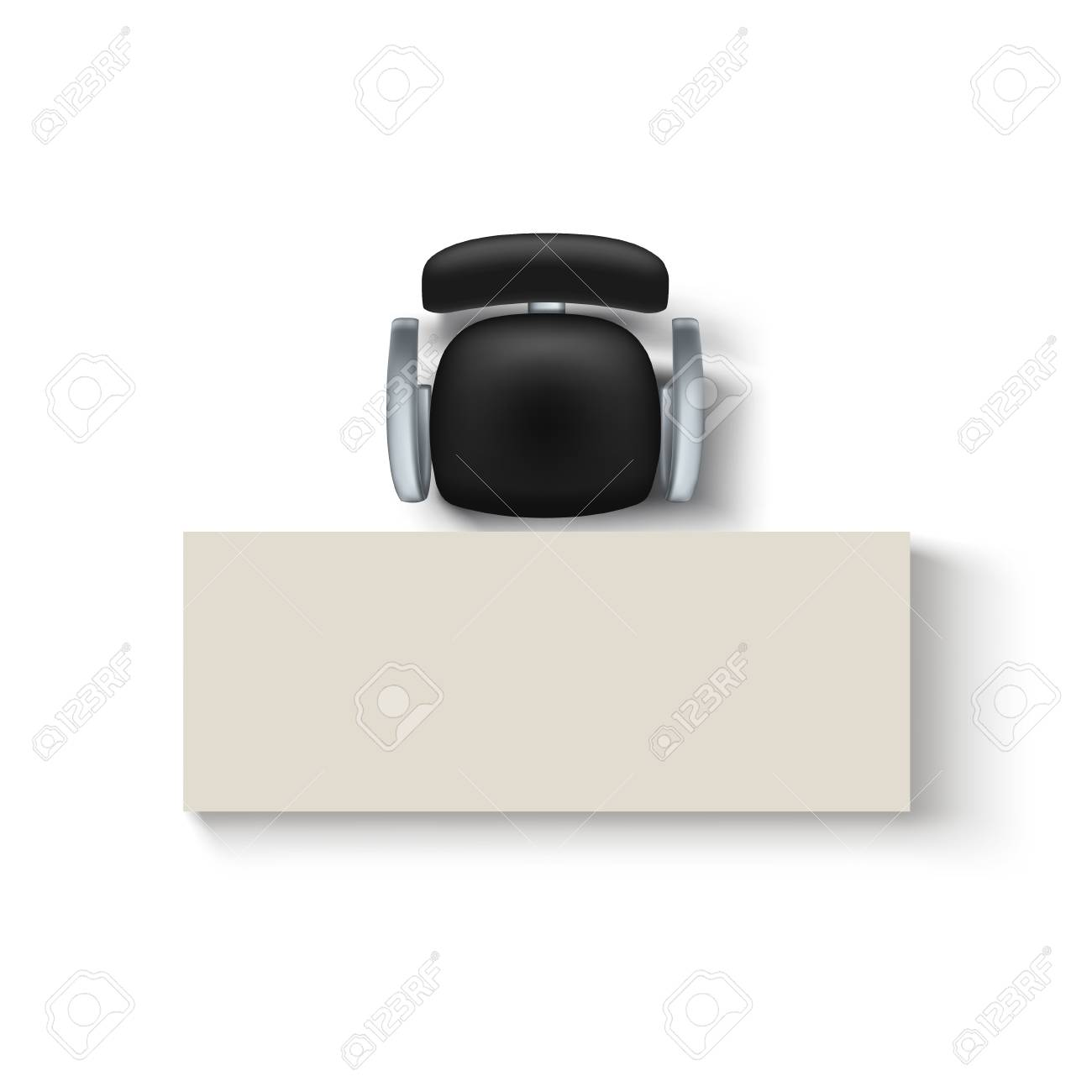 illustration of top view black color chair and desk wit shadow on white background - 99085868