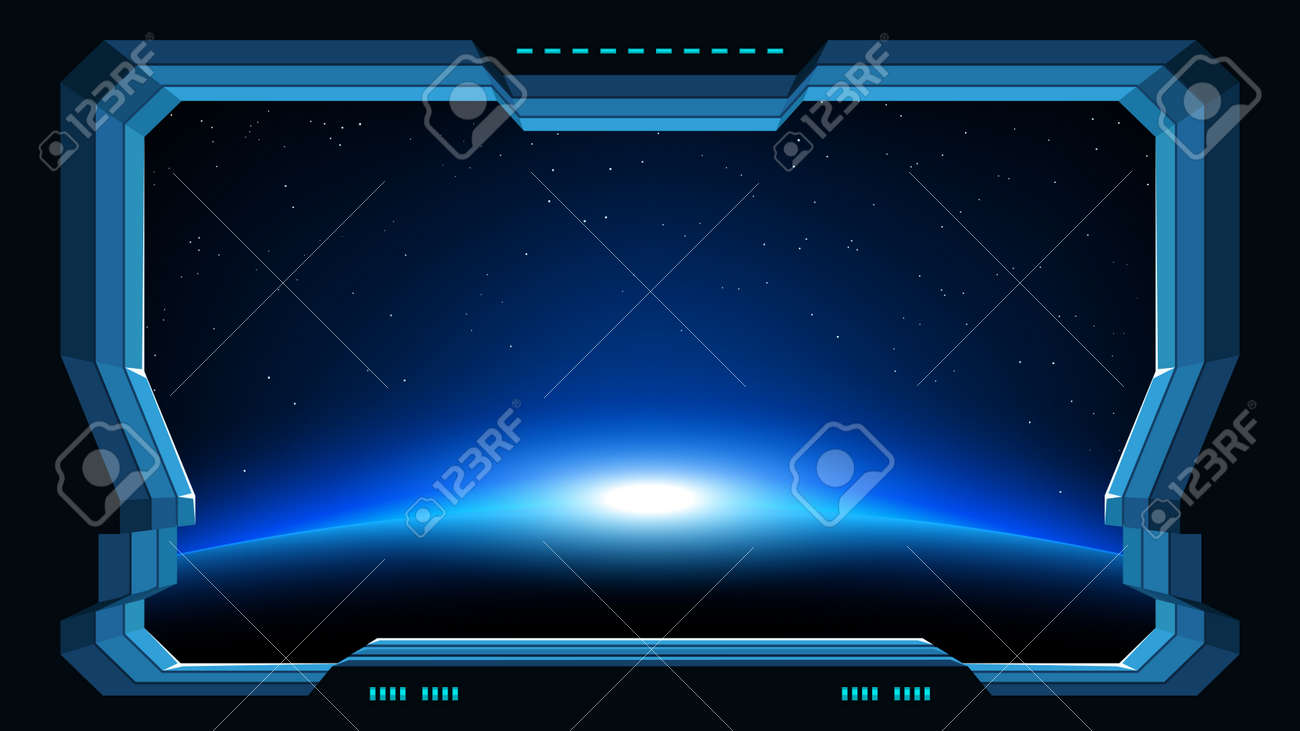 futuristic window planet view - 104155093
