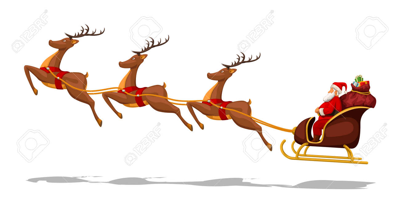 illustration of santa claus in sled with deers isolated on white background - 127146365