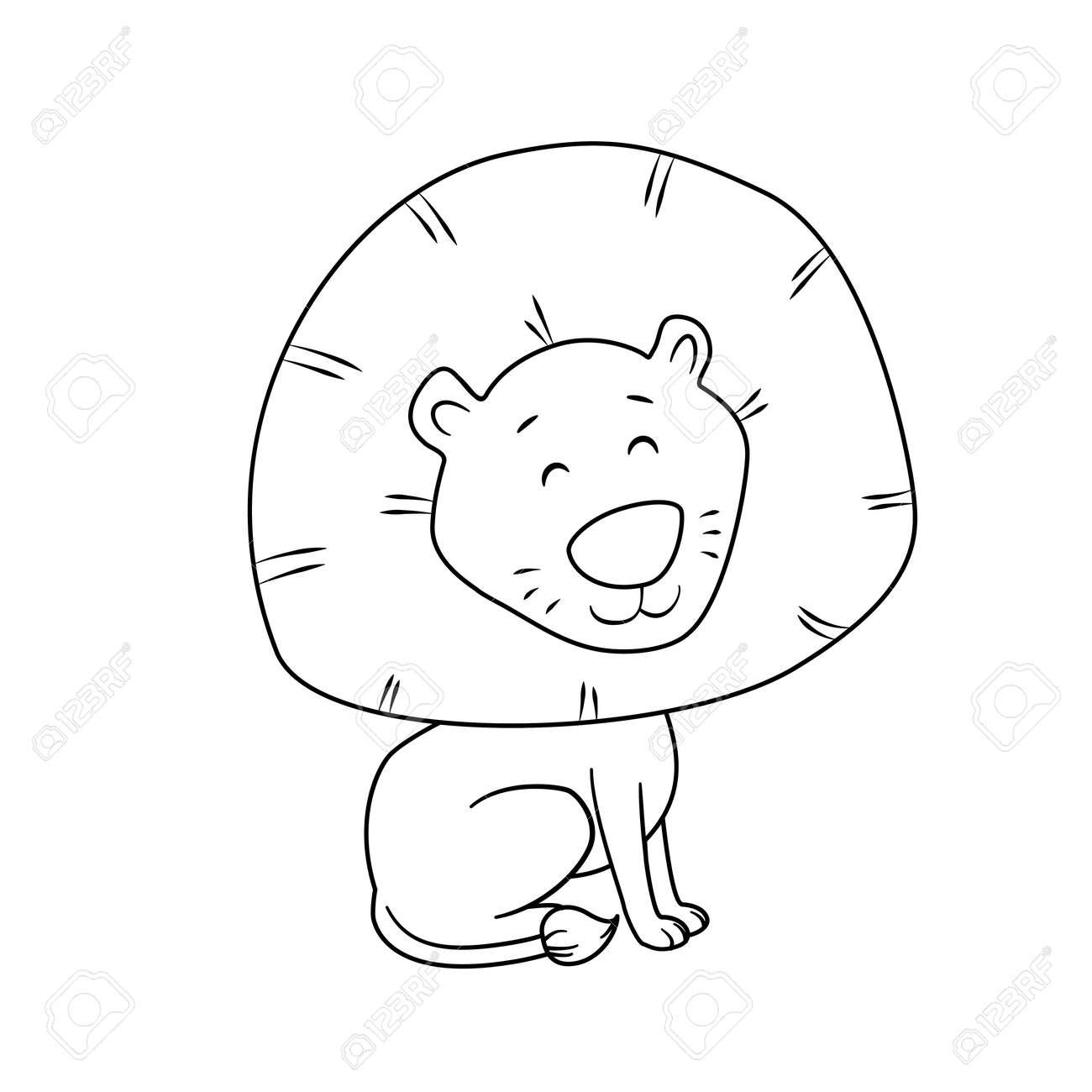 Para Colorear De Dibujos Animados León Lindo Para Los Niños ...