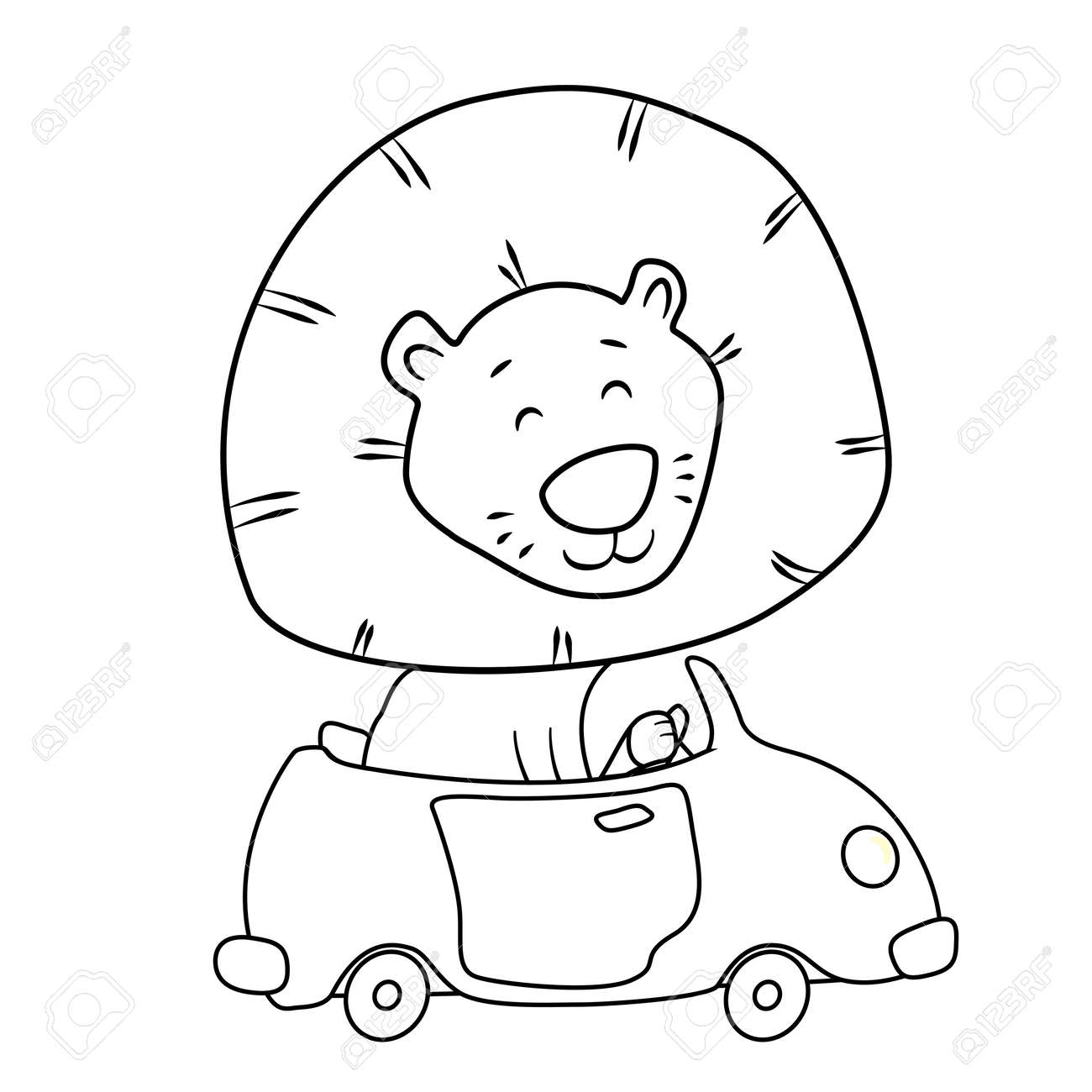 Cute Cartoon Lion Driving A Car Coloring Page For Kids Royalty Free
