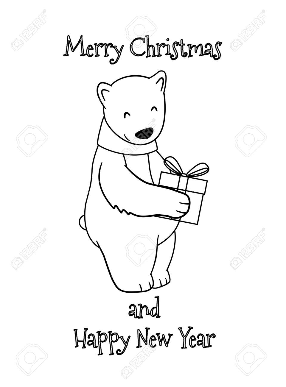 Cute Cartoon Christmas Polar Bear With Gift Coloring Page For