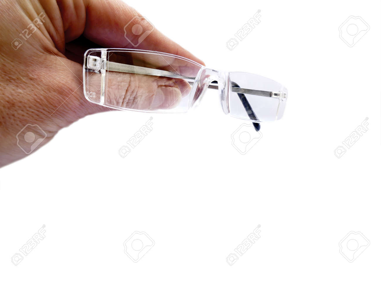 Hand Hält Luft Von Randlos Brillen, Lesebrillen, Brillenfassungen ...