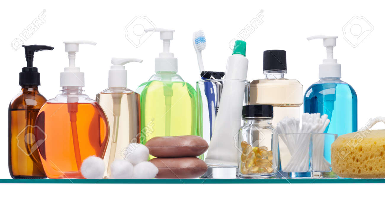 various personal hygiene products on glass shelf Stock Photo - 7409563
