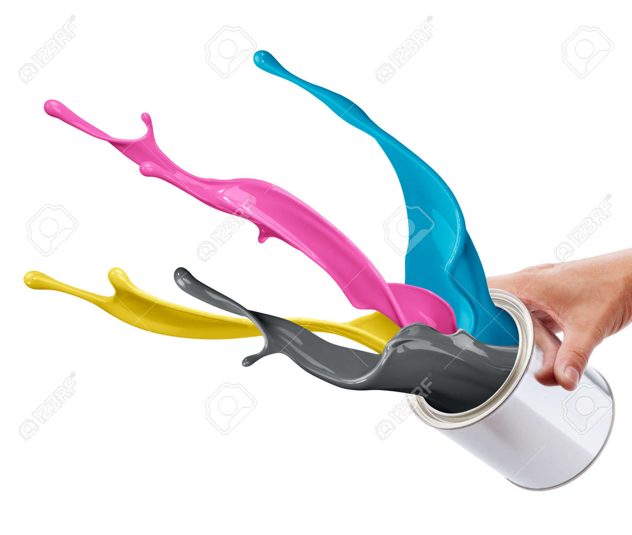 pouring paint consisting CMYK colors from its bucket creating splash Stock Photo - 10080955
