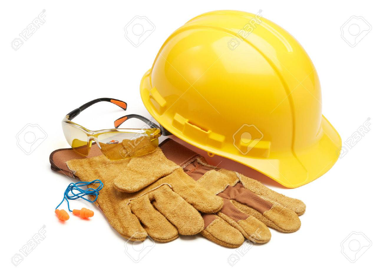 various type of protective workwears against white background - 44218554