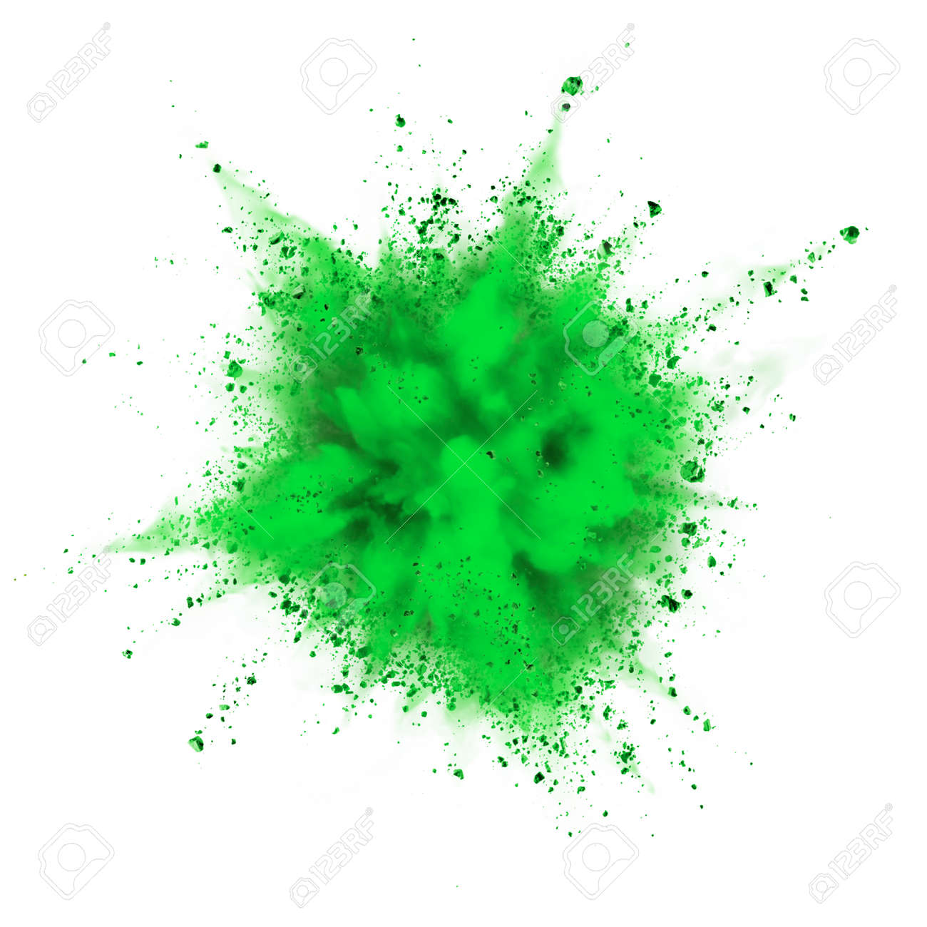 green powder explosion isolated on white background - 45945883