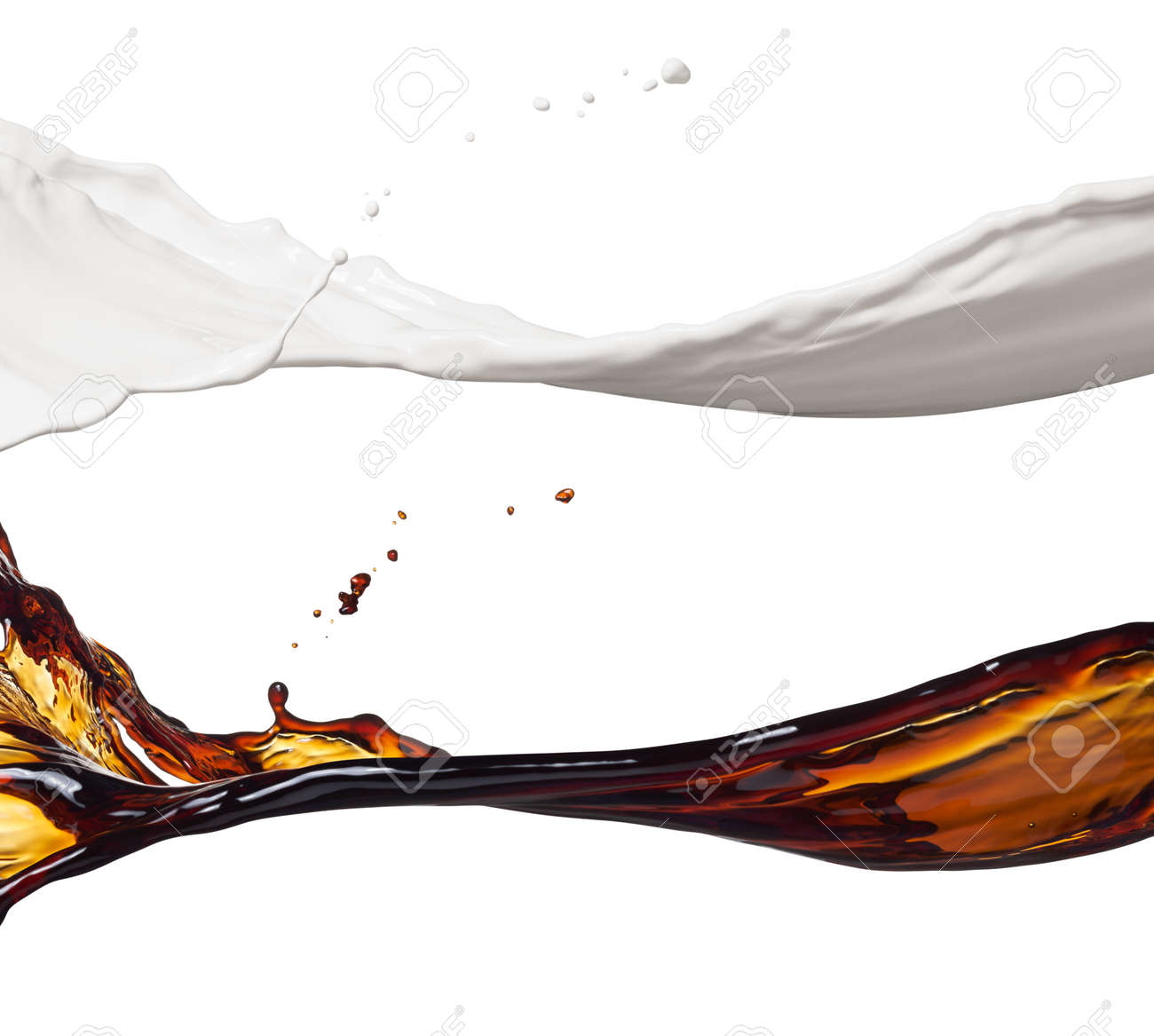 milk and coffee splashes isolated on white - 46643238