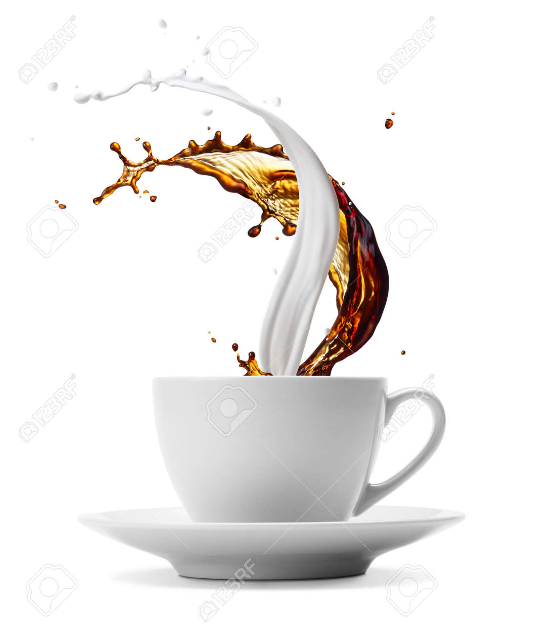 cup of coffee and milk splashes isolated on white - 59150810