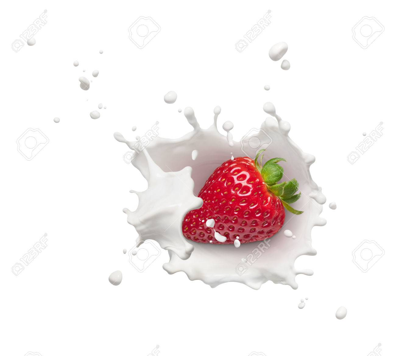 milk splash with strawberry from top view - 63375548