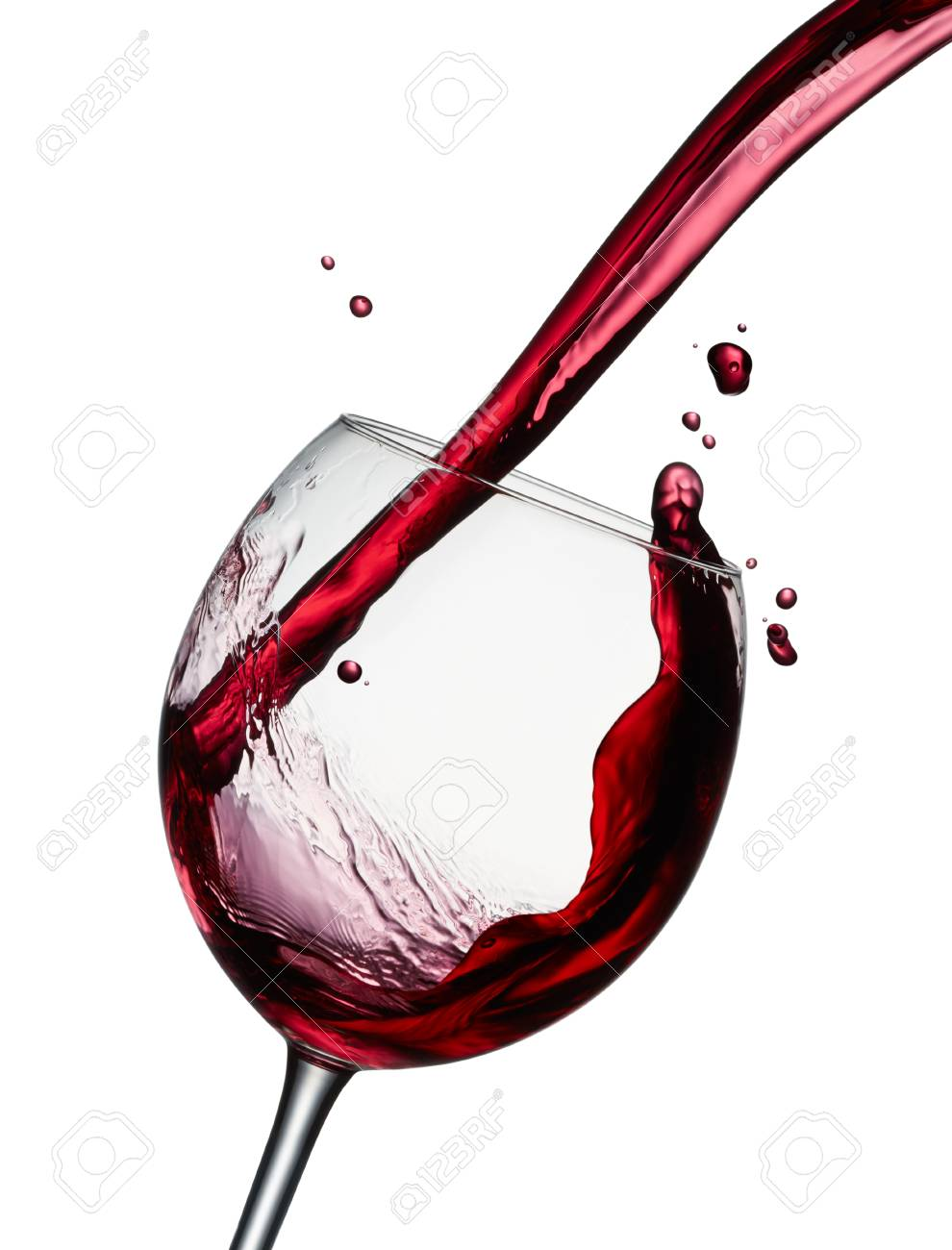 pouring a glass of red wine isolated on white - 66020151