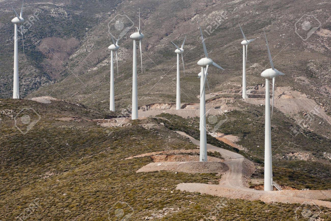 Landscape of an eolian farm in Crete, Greece - 7157455