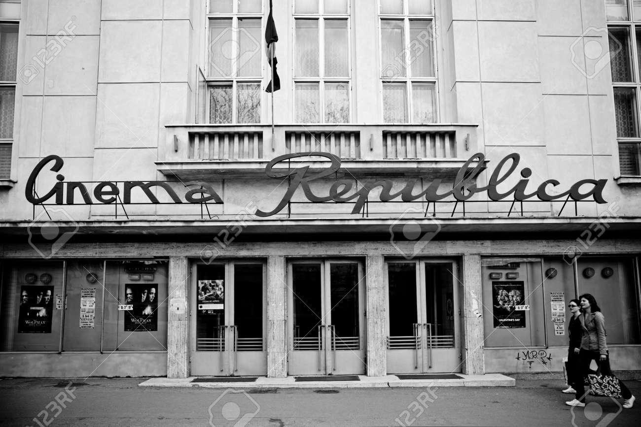 IASI, ROMANIA - APRIL 17: The Cinema Republica, one of the still standing communist movie theaters on April 17, 2010 in Iasi, Romania. - 7525516