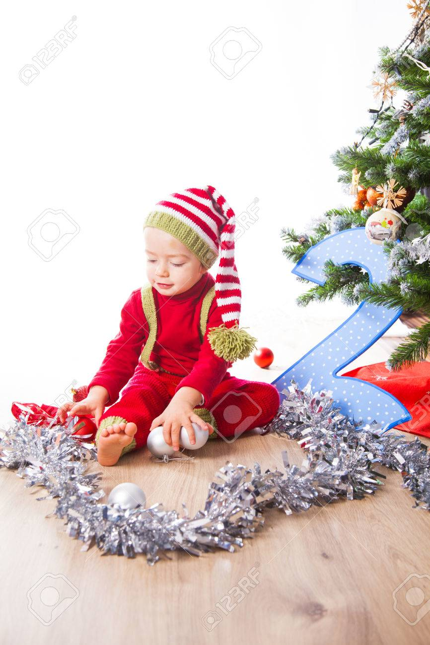 2 Year Old Baby Boy Christmas Shooting In Studio. Stock Photo ...