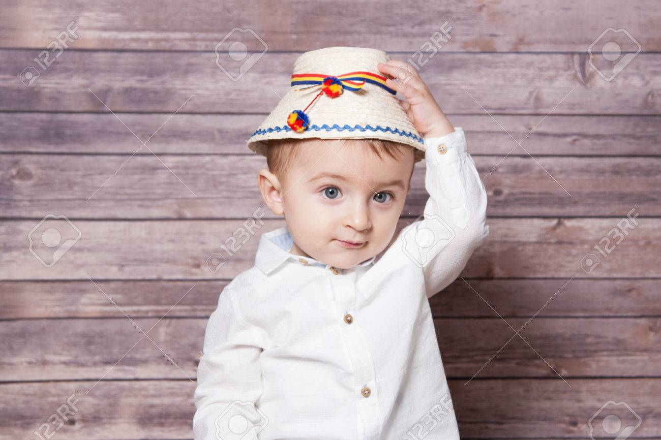 c0f6ada7b Portrait of a 1 year old baby boy wearing a Romanian traditional..