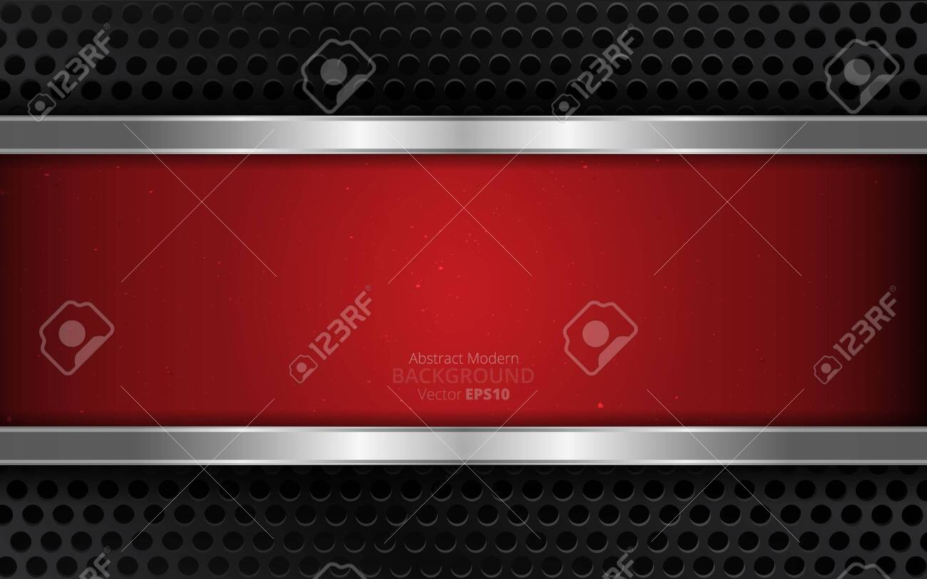 Metallic silver black and red elegant realistic geometric abstract modern vector background techno rippled decoration, luxury strong design for web and print decoration - 145058445