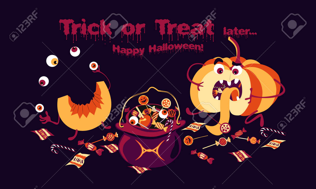 Funny pumpkin sitting on the floor after trick or treat  Vector