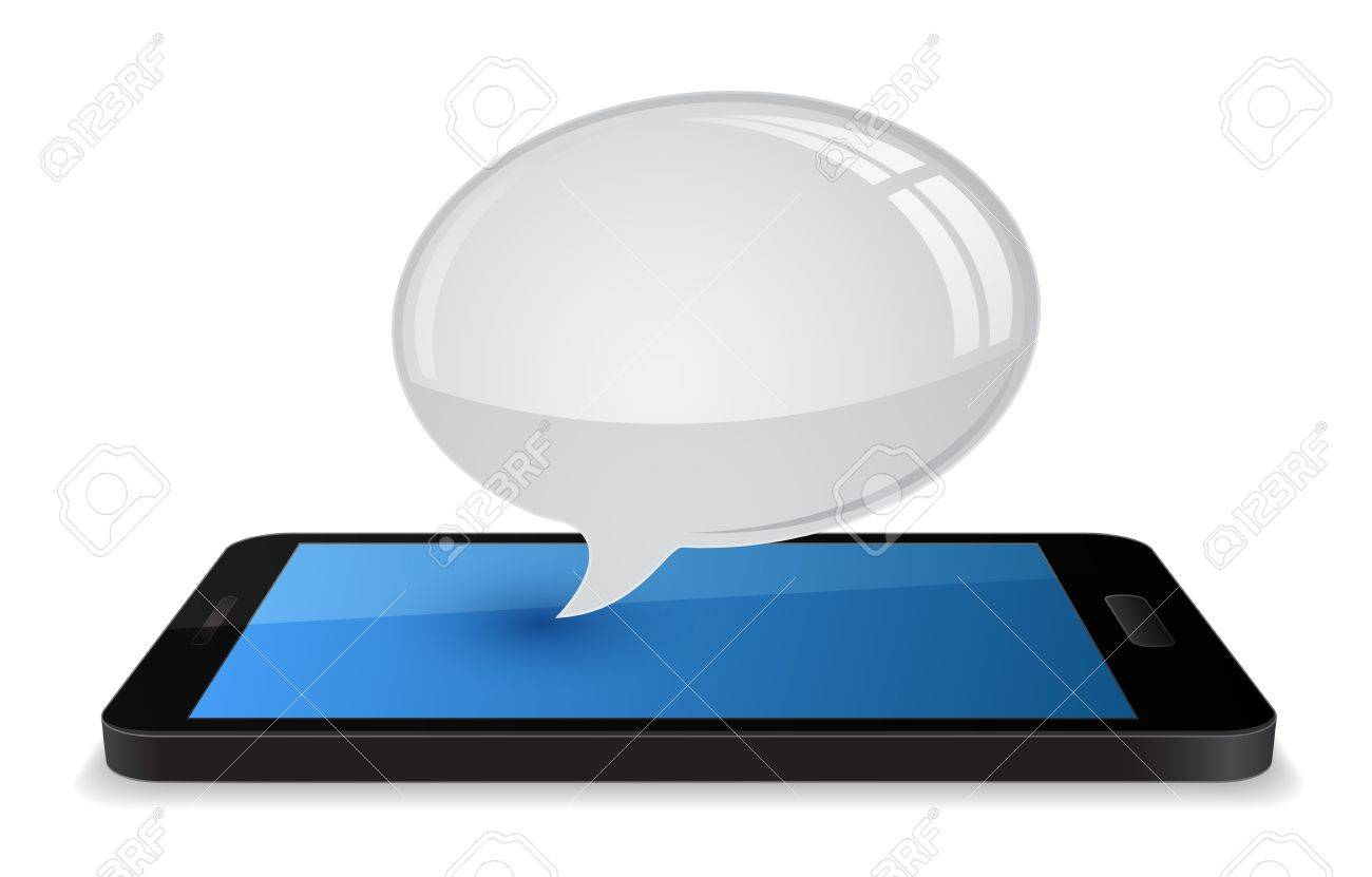 3d smartphone with speech bubble chat balloon Stock Vector - 21506918
