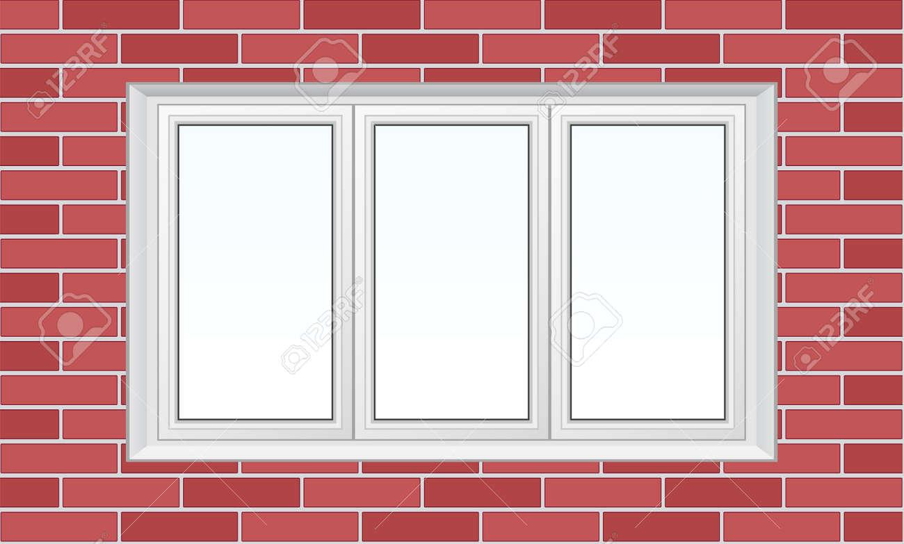 Three Frame Plastic Window On Brick Wall Royalty Free Cliparts ...