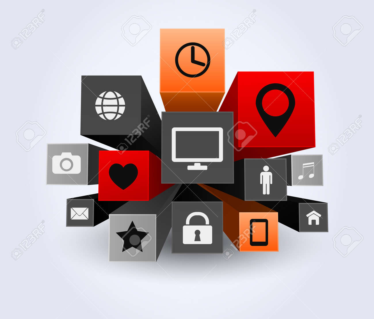 3d apps icon abstract background royalty free cliparts, vectors, and