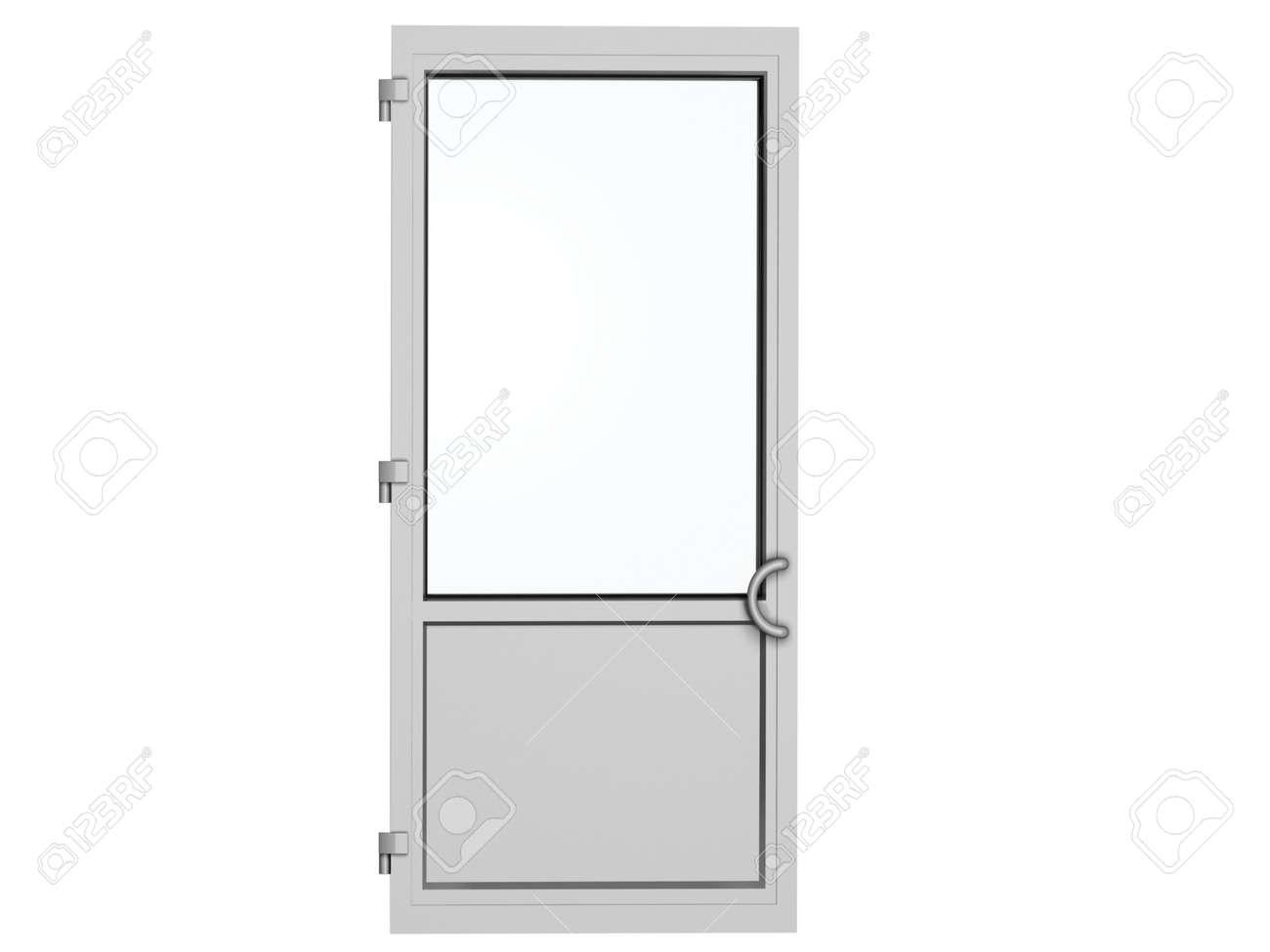 Ein Rahmen Metall-Kunststoff-Tür Isoliert Auf Weiß Lizenzfreie Fotos ...