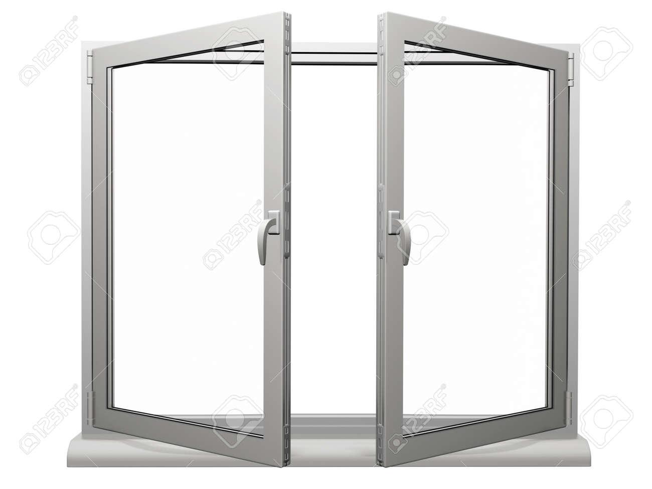 Zwei Rahmen Offenen Kunststoff-Fenster Isoliert Auf Weiß Lizenzfreie ...