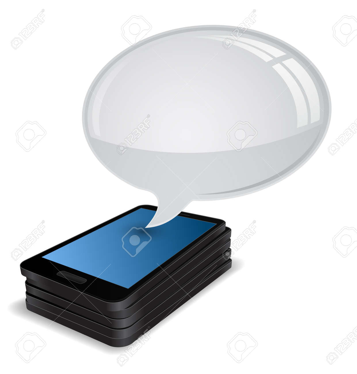 smartphone stack 3d with speech bubble Stock Vector - 22068995