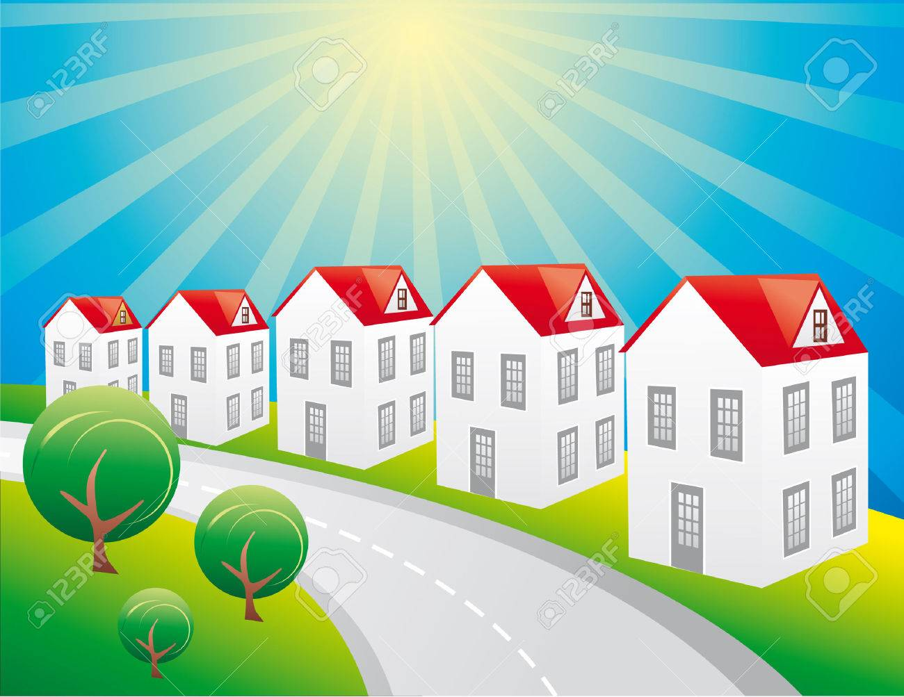 houses in a sunshine day Stock Vector - 6111099