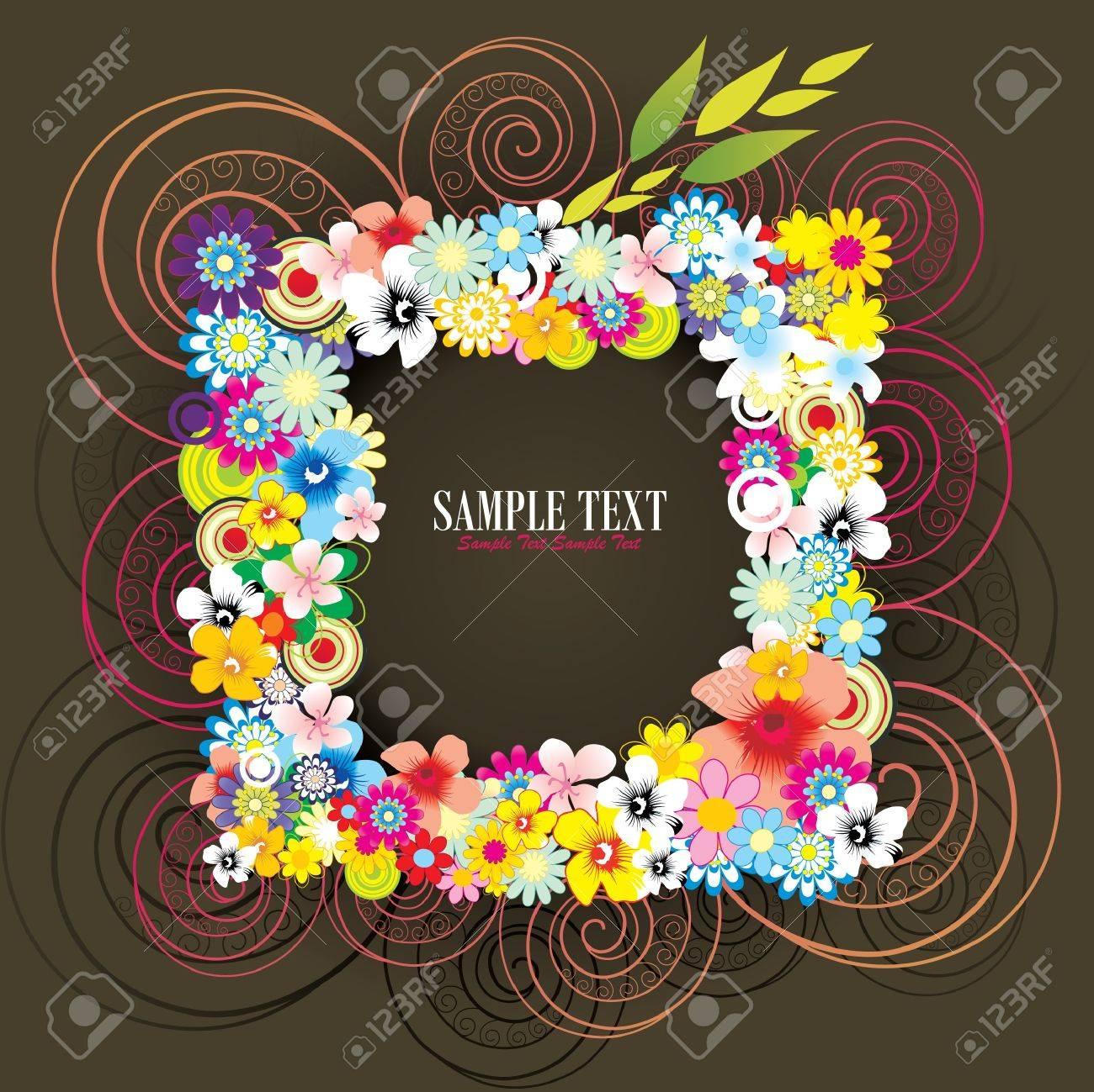 flower frame vector Stock Vector - 10400663