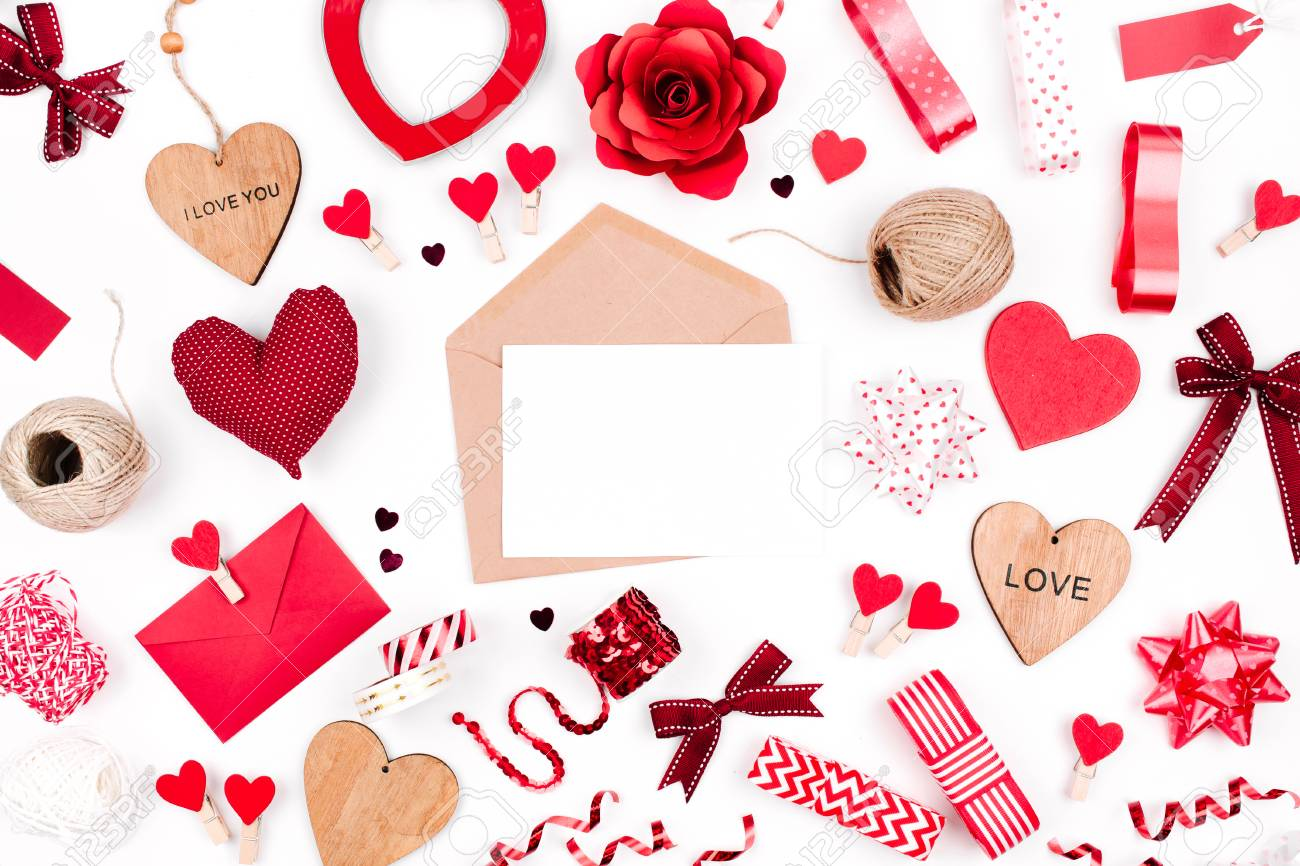 Valentine Card With Red Decoration Love Letter Mockup Stock Photo