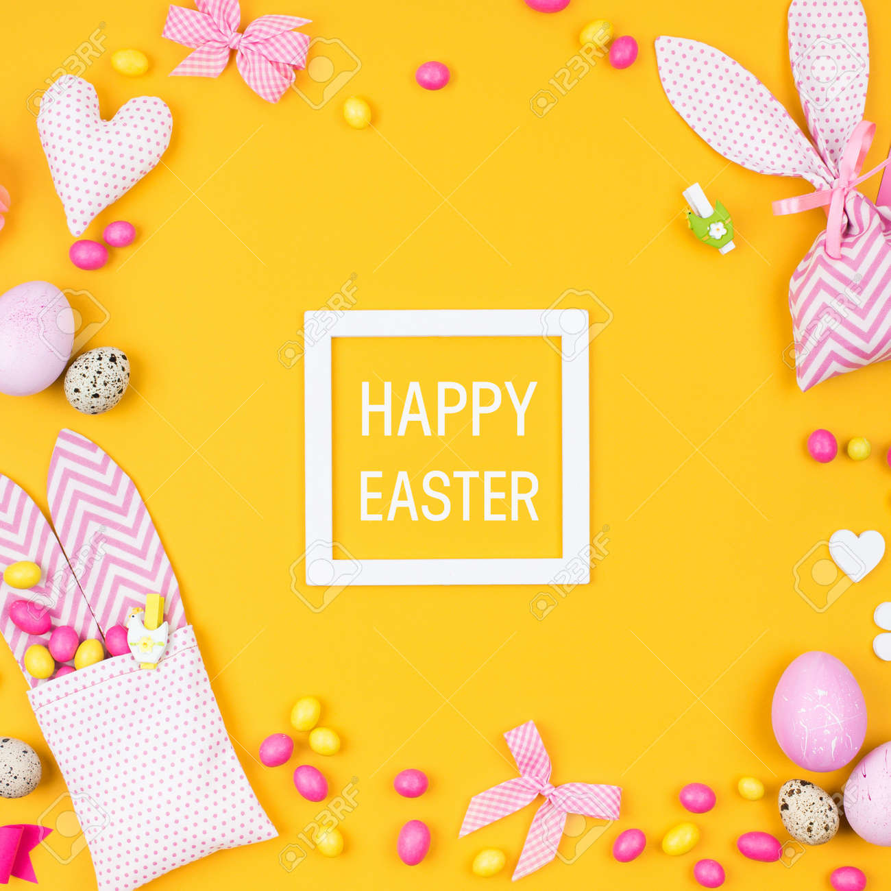 Happy easter greeting card flat lay stylish decoration pink happy easter greeting card flat lay stylish decoration pink and yellow easter eggs negle Images