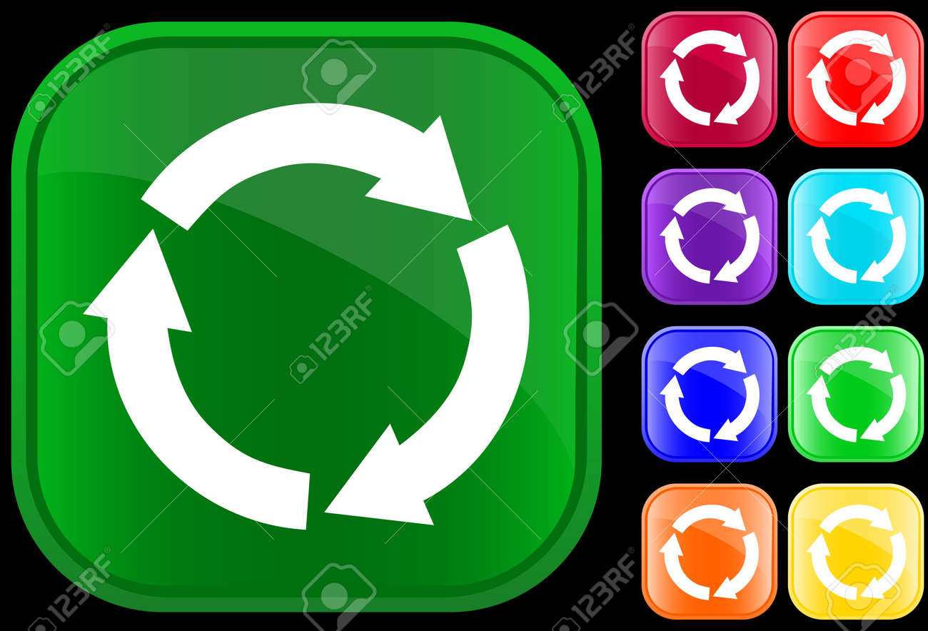 Icon of recycling circle on shiny square buttons Stock Vector - 2994061