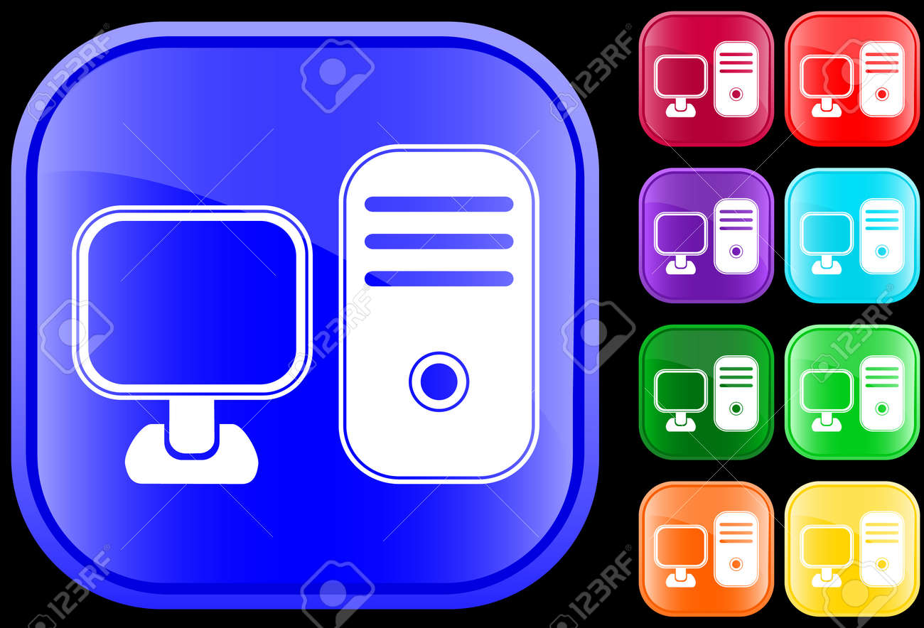 Icon of  a personal computer on shiny square buttons Stock Vector - 3008878