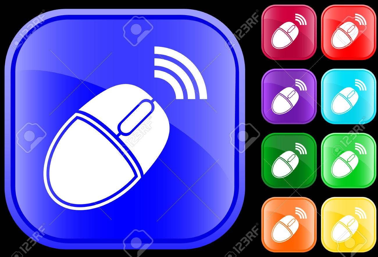 Icon of wireless computer mouse on shiny square buttons Stock Vector - 3009193