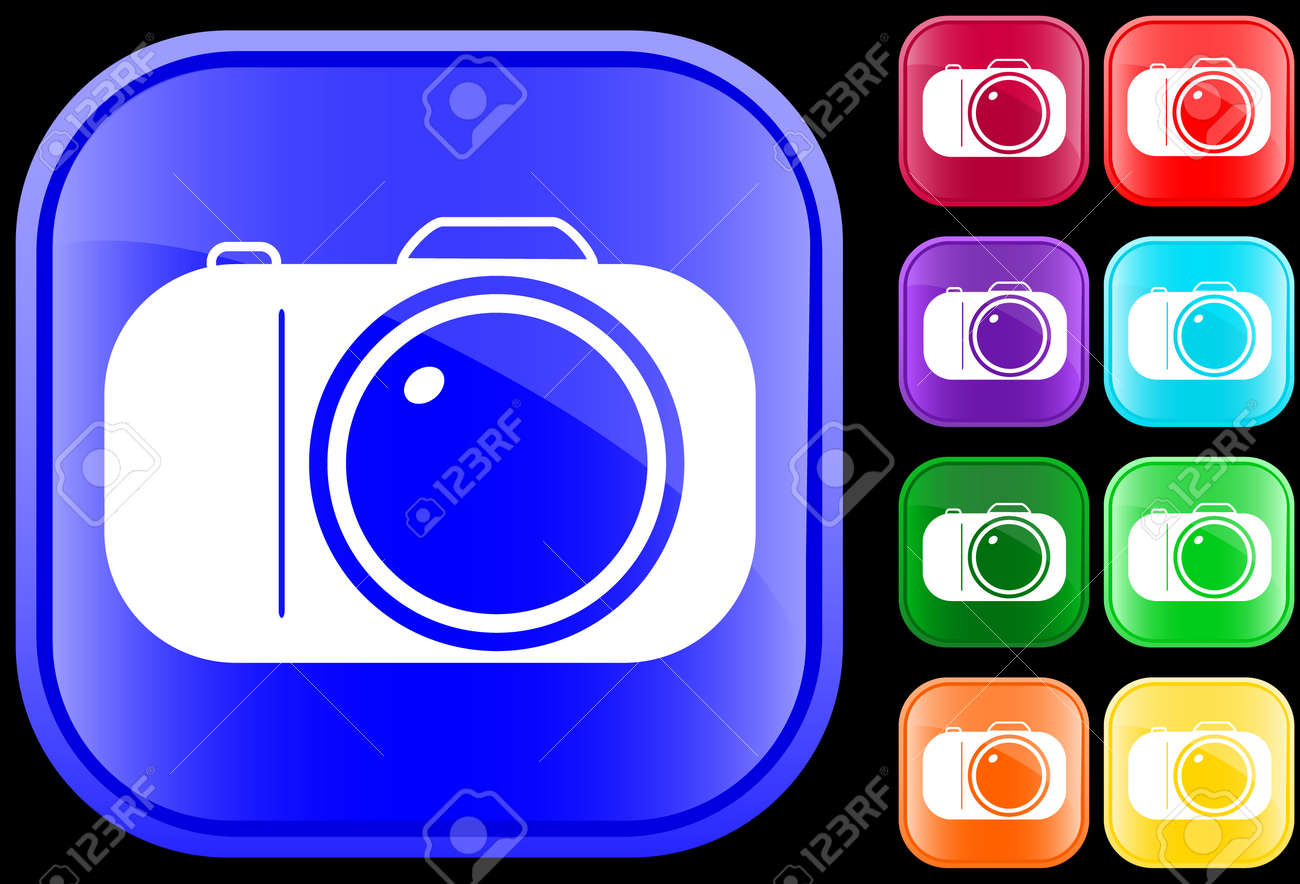 Icon of camera on shiny square buttons Stock Vector - 3009805