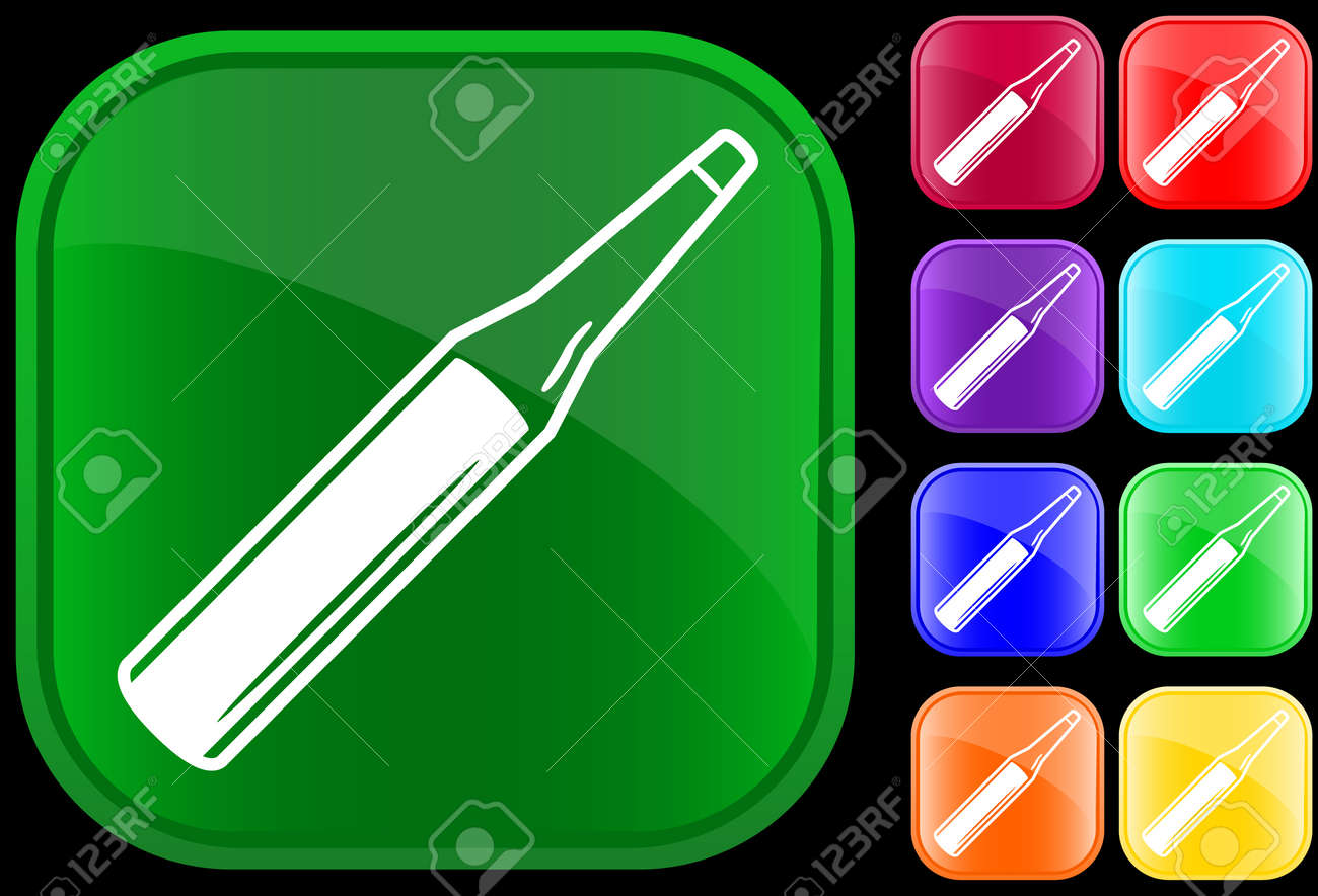 Icon of medical ampoule on shiny buttons Stock Vector - 3070114