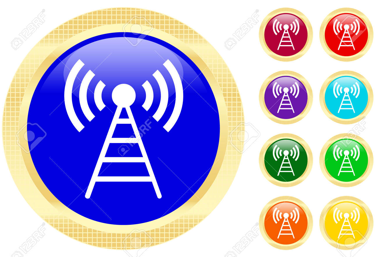 Antenna icon on shiny buttons Stock Vector - 3159041