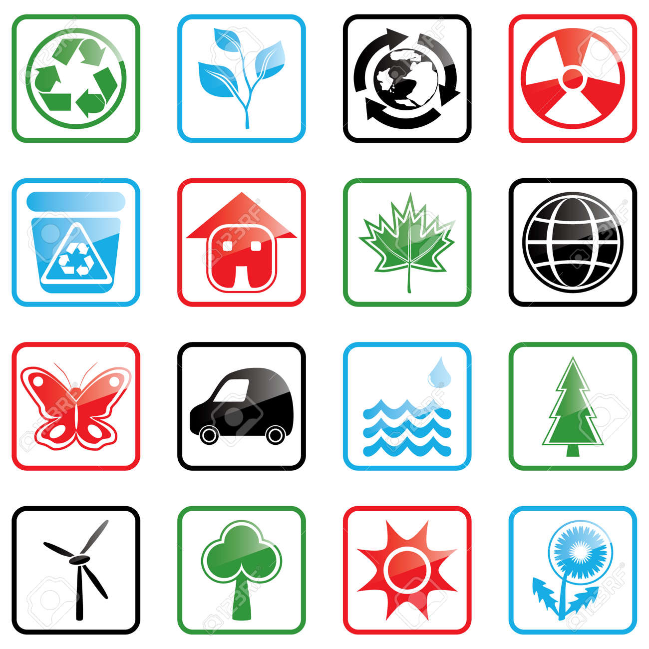 Vector illustration with environmental icons Stock Vector - 3217773